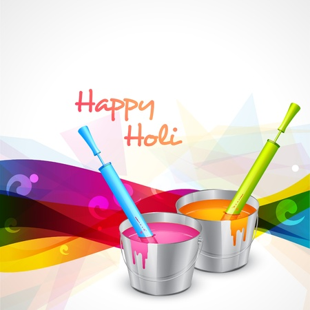happy holi: vector indian holi festival with water colors