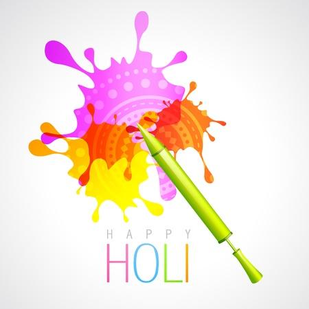 hindues: holi pichkari vector con el fondo colorido del chapoteo