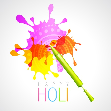 vector holi pichkari with colorful splash background Vector