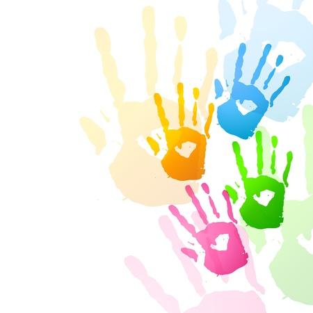 hindus: vector colorful hands design illustration Illustration