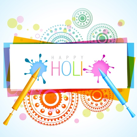vector colorful holi splashes background with pichkari  Vector