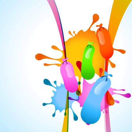 water color balloons with colorful splashes background Vector