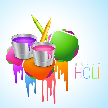 gulal: vector holi festival background with pichkari and bucket