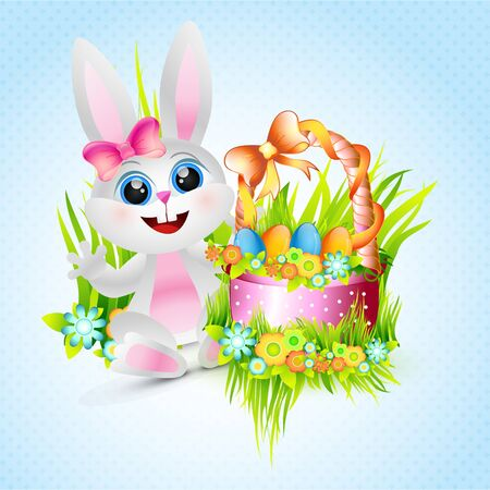 vector cute female rabbit with easter eggs Vector