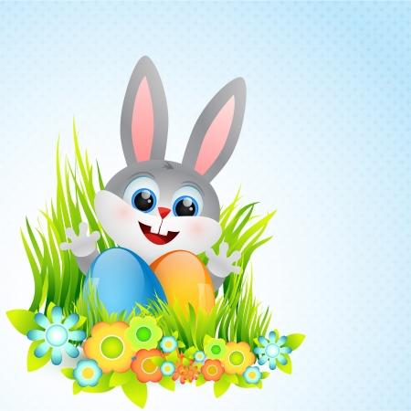 vector cute easter bunny illustration Vector