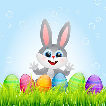 vector easter bunny with colorful eggs Vector
