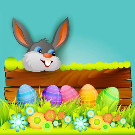 cartoon rabbit: vector easter bunny background design