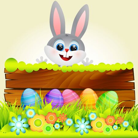 cute rabbit in with easter eggs Vector