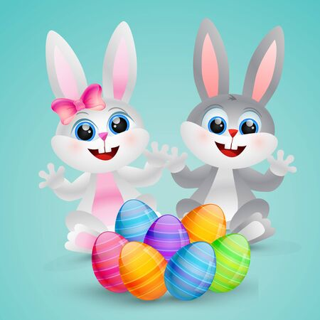 vector cute easter bunny illustration Vector