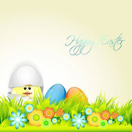 cute easter background with space for your text Vector