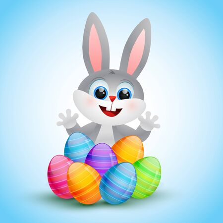 bunny rabbit: vector cute easter bunny illustration