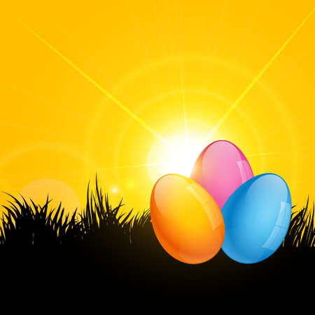 vector eggs: vector colorful easter eggs lying on grass Illustration