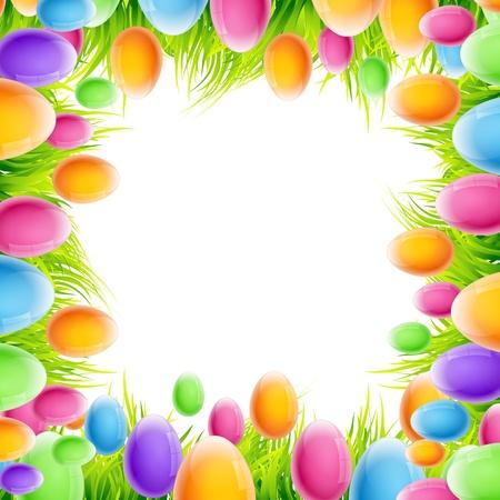 pascuas navide�as: vectores de colores los huevos de Pascua fondo del marco