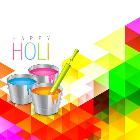bucket of water: colorful holi festival background design Illustration