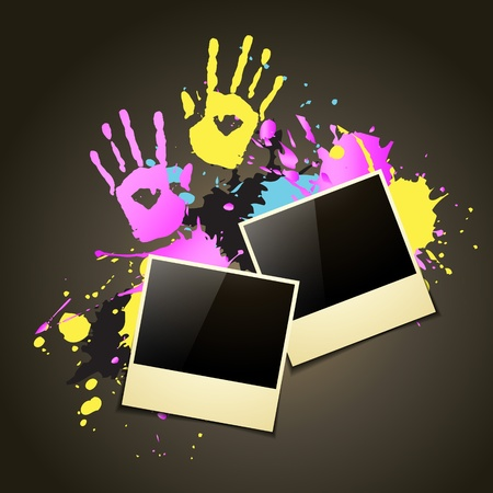 holi festival background with photo frame Vector