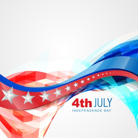 vector wave style american independence day background Illustration