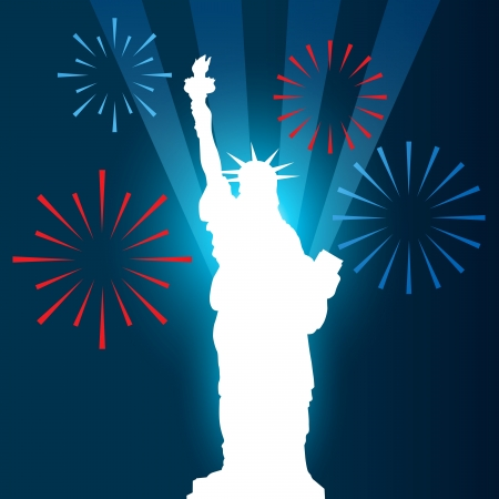 july fourth: statue of liberty shullouette vector design