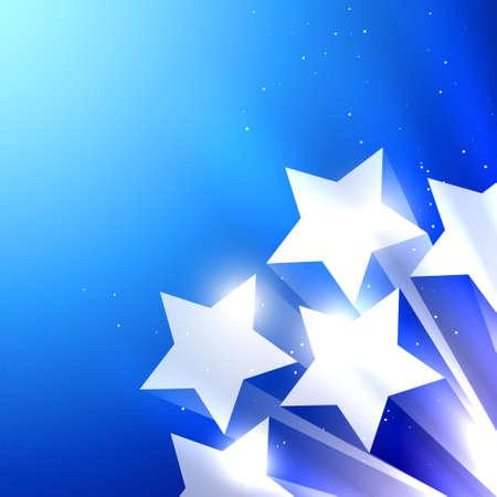 4 star: shiny star vector blue background