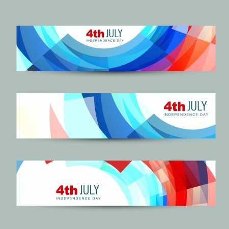 vector set of american independence day header Stock Vector - 19979459