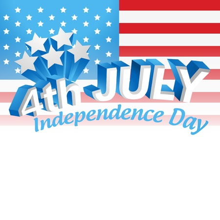 july 4th: vector 4th of july text design Illustration