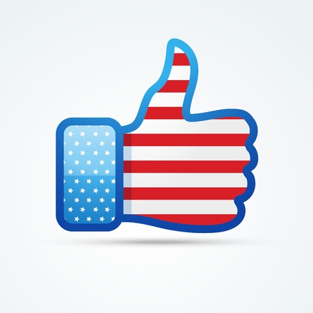vector social thumb with american flag Stock Vector - 19978685
