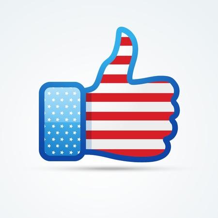 vector social thumb with american flag Stock Vector - 19978685