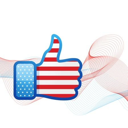 american media: vector american flag design in social media concept Illustration