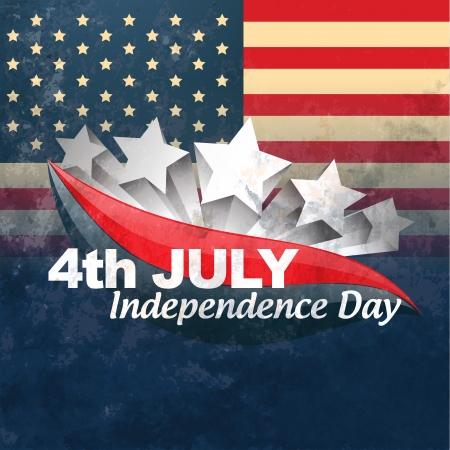 fourth of july: vector design creativo bandiera americana Vettoriali