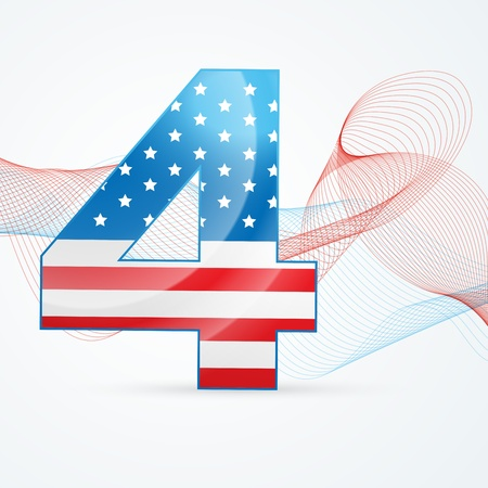 vector 4th of july background with wave Stock Vector - 19978689