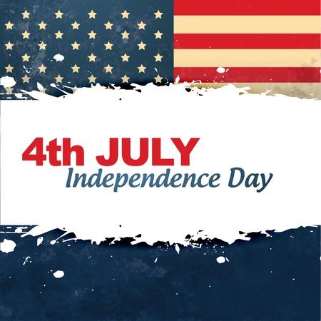 네번째: 벡터 빈티지 스타일의 미국 독립 기념일 배경