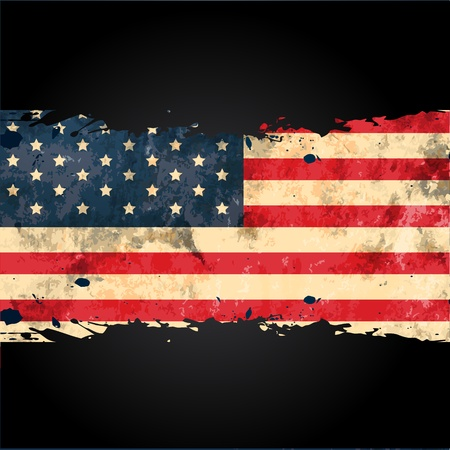 us flag grunge: vector grungy american flag design Illustration
