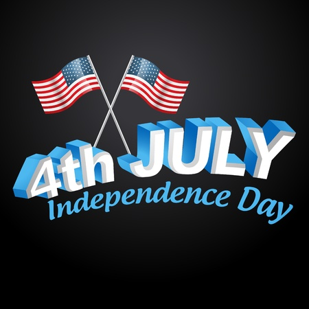 stylish american independence day design text Stock Vector - 19978985