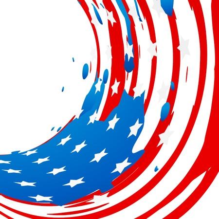 July 4: ink splash vector american flag design Illustration
