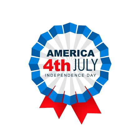 4 july: american 4th of july vector badge design Illustration