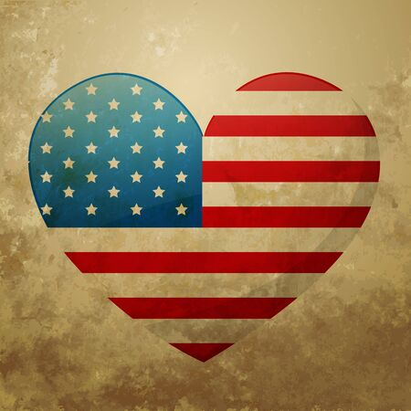 vector american flag heart design Vector