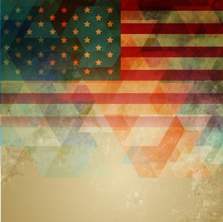 us grunge flag: abstract style american independence day design