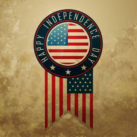 us grunge flag: vector american independence day badge design