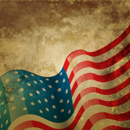 us flag grunge: vintage style american flag background Illustration