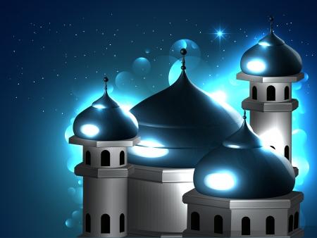muslim pray: vector beautiful islamic mosque background