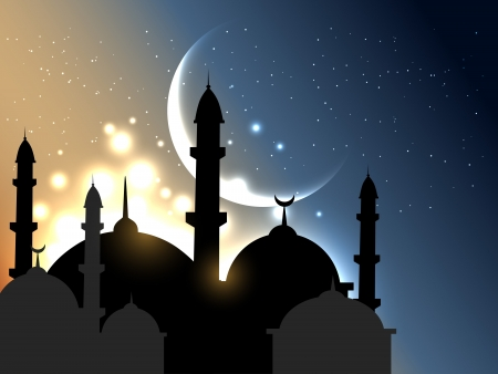 night: vector islamic background design illustration
