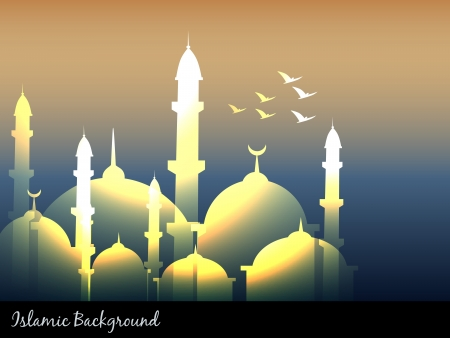 vector glowing islamic mosques design