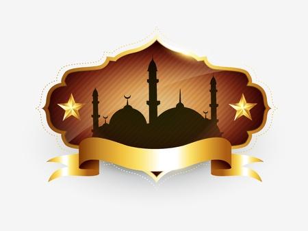 벡터 이슬람 황금 라벨 디자인