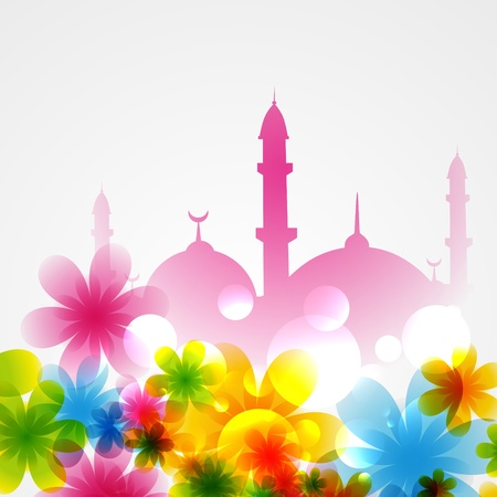 beautiful background of mosque covered with flowers Illustration