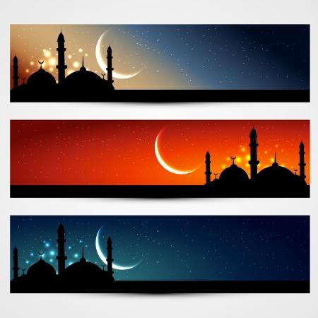 ベクトル ヘッダー セットのイスラム教  イラスト・ベクター素材