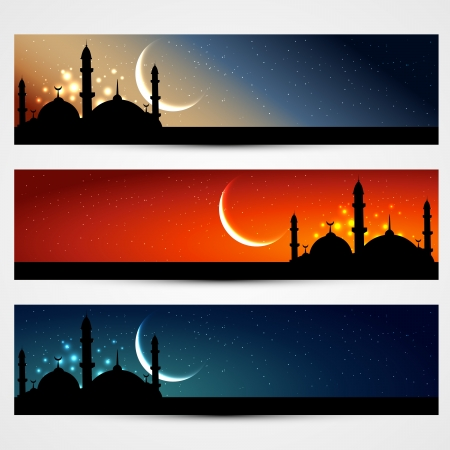 vector set of islamic headers Vector
