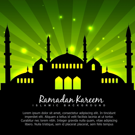 namaz: vector islamic design with green background