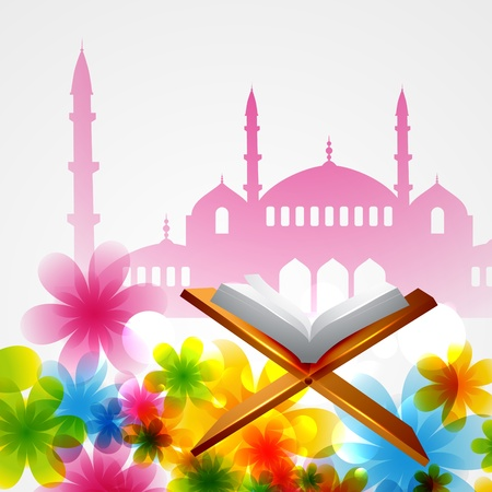 islamic pray: beautiful background of mosque with book of quran