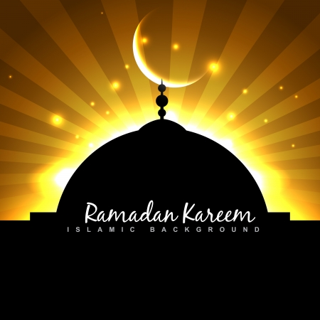 beautiful mosque with moon on golden sky background Stock Vector - 20531417