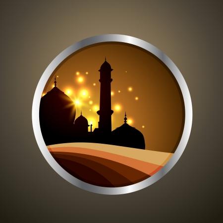 ramzaan: vector islamic label design illustration