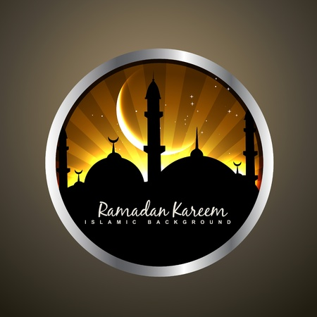 namaz: beautiful islamic badge vector illustration